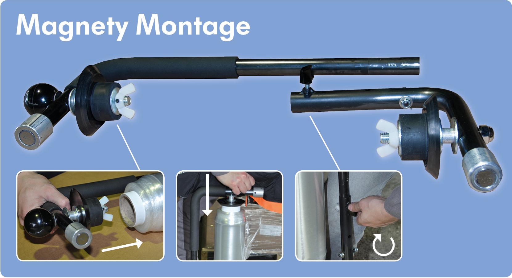 Magnety der Stretchfolienabroller ist schnell und leicht zu montieren.